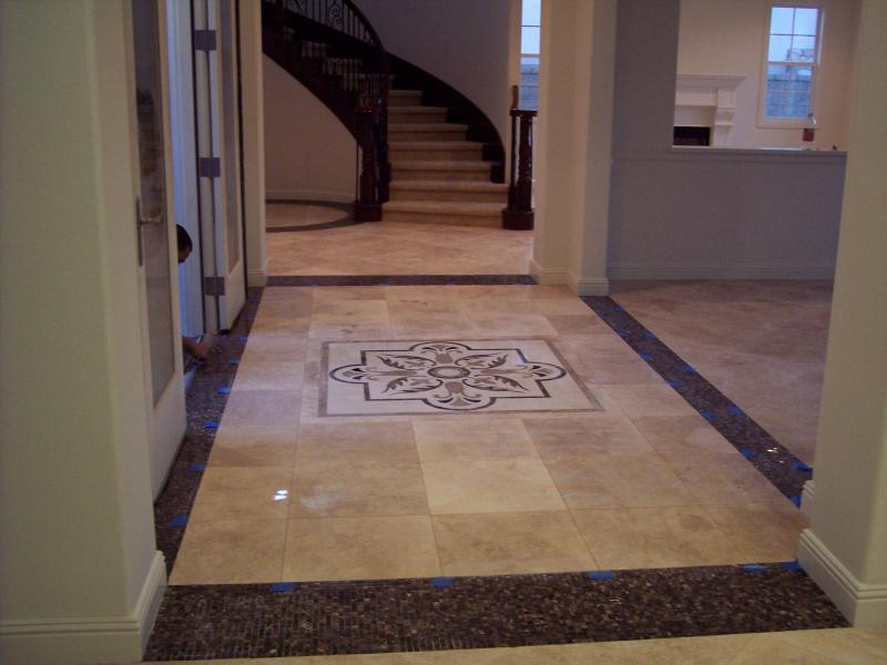 Medallion and travertine floor